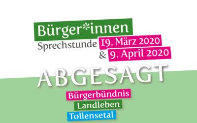 Terminabsage Bürger*innen-sprechstunde Gemeinde Alt Tellin